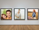 three photo frames in a museum gallery