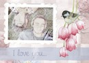Scrapbooking with bird, pink flowers and text