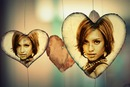2 pictures with inlay in wooden hearts