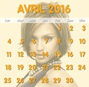 April 2016 kalender med tilpasselig baggrund foto
