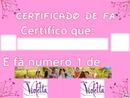 Certificado De Fã de:Violetta